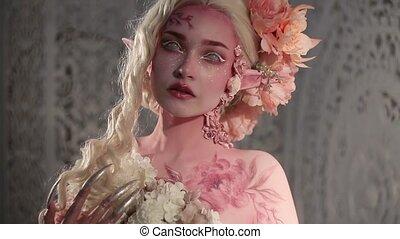 maquillage, girl, elf., beau, créatif, bodyart, jeune