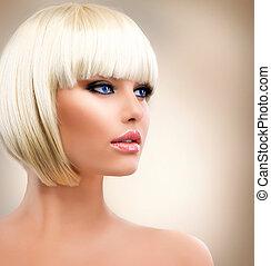 maquillage, girl, portrait., hair., élégant, hairstyle., blonds, blond