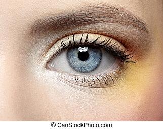 maquillage, oeil, fille, zone