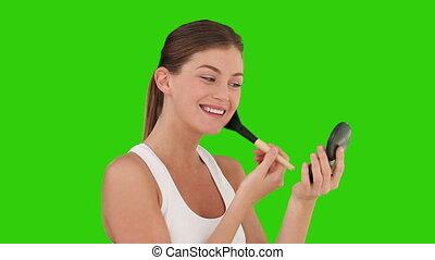 maquillage, sombre, femme, mettre, chevelure