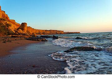 marée, bord mer