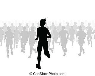 marathon, vecteur, coureurs, fond