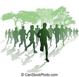 marathonlauf, parc, im