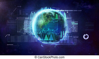 marché, échange, illustration, sujet, trading., mondiale