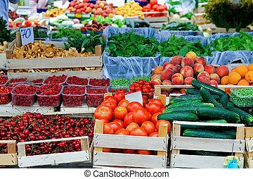 marché, agriculteurs, endroit