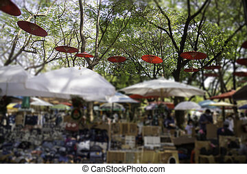marché, articles, vente, rue