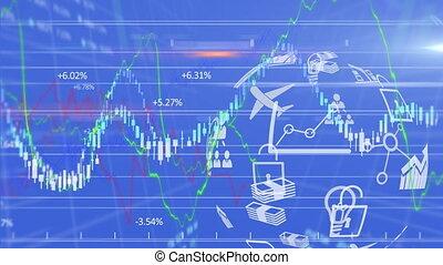 marché, bleu, nombres, stockage, animation, graphiques, exposer