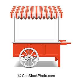 marché fermier, charrette, rouges