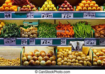 marché, fruit, légumes frais