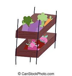 marché, légumes, image, isolé, stalle