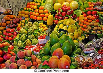 marché, la, boqueria, barcelone, foyer., célèbre, sélectif, mondiale, spain., fruits.