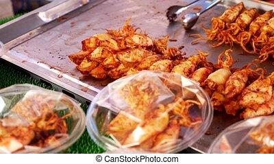 marché, nourriture, fruits mer, traditionnel, mer, frais, thaï