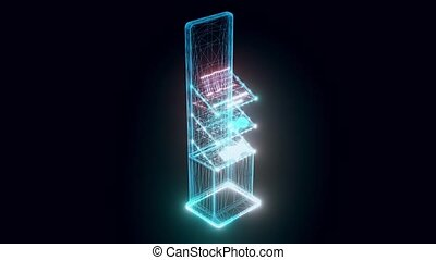 marché, stand, hologramme, tourner, produits de beauté
