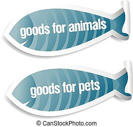 marchandises, autocollants, animaux familiers