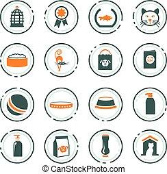 marchandises, ensemble, animaux familiers, icônes