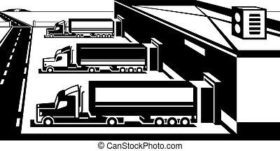 marchandises, entrepôt, chargement, camions