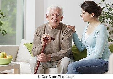 marchant bâton, homme âgé