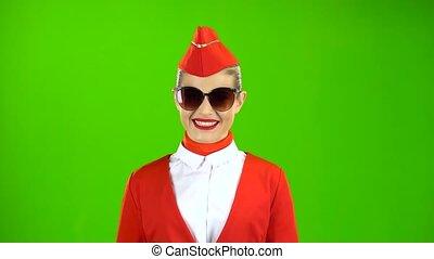 marche, écran, sunglasses., procès vert, blond, girl, rouges