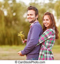 marche, amour, couple, parc, jeune, automne, river.