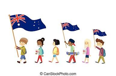 marche, australie, national, jour, drapeau, gosses, enfants