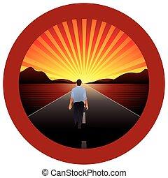 marche, cadre, -, rond, vecteur, route, horizon, seul, image, rouges, homme