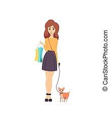 marche, chouchou, shopaholic, chien, vecteur, femme