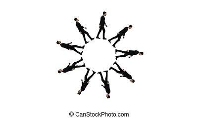 marche, classique, jeune, costume noir, homme affaires, circle.