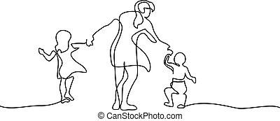 marche, concept, famille, mère, petits enfants