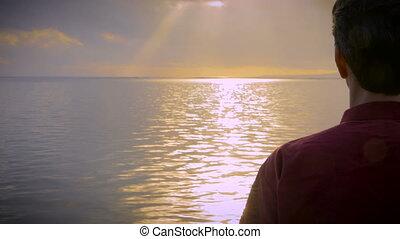 marche, coup, lumière, main, eau, tenu, calme, mer, homme