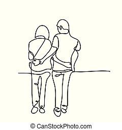 marche couples, jeune, ensemble