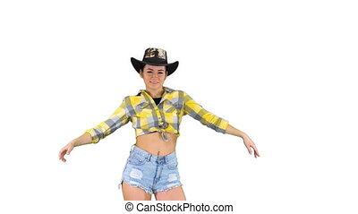 marche, cow-boy, arrière-plan., danses, blanc, girl