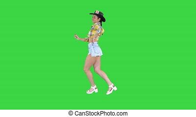 marche, cow-boy, chroma, écran, danses, vert, key., girl