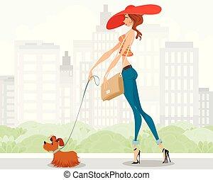 marche, dame, chien