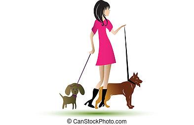 marche, dame, chiens