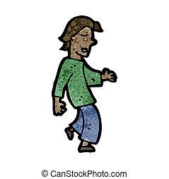 marche, dessin animé, homme