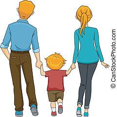 marche, dos, famille, vue