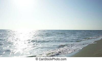marche, eau, couple, long, plage