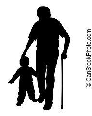 marche, enfant, crosse, grand-père
