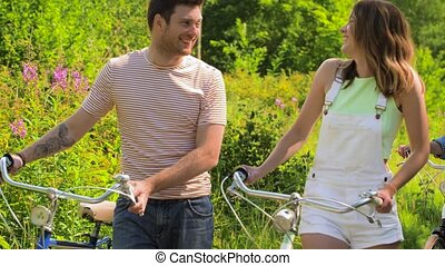 marche, engrenage, parc, bicycles, fixe, amis