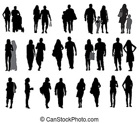 marche, ensemble, silhouette, illustration., gens, vecteur, children.