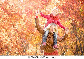 marche, extérieur, parent, parc, ensemble, automne, gosse, heureux