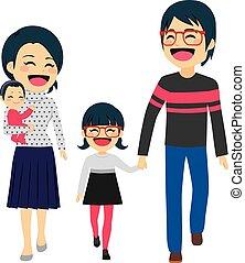 marche, famille asiatique, heureux