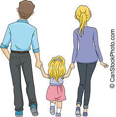 marche, famille, ensemble