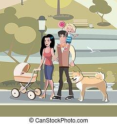 marche, famille, parc, jeune, bébé bébé