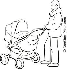 marche famille, silhouette