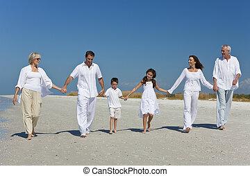 marche, famille, trois, tenant mains, plage, générations