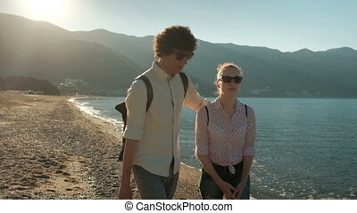 marche, femme, chaud, long, plage, weather., homme