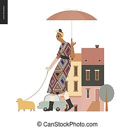marche, femme, -, chien, pluie