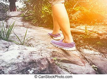 marche, femme, exercice, concept, motivation, santé, outdoors.