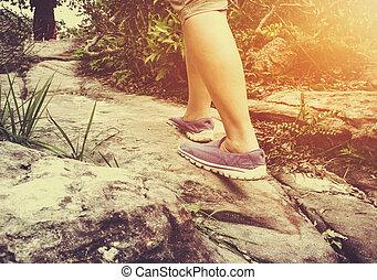 marche, femme, exercice, concept, vendange, tone., closeup, santé, outdoors.